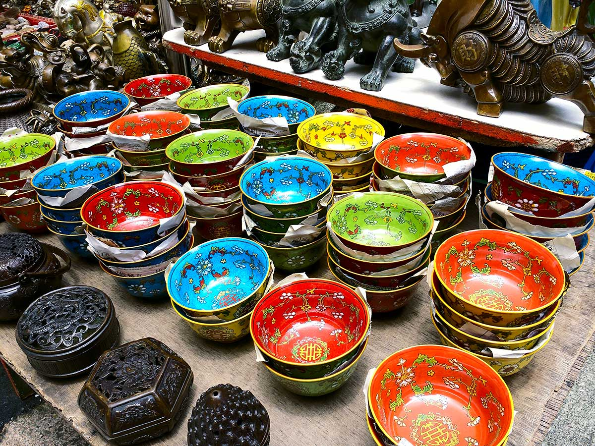 Colourful bowls in Cat Street market
